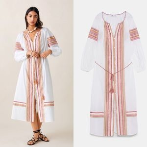 ZARA BELTED EMBROIDERED DRESS